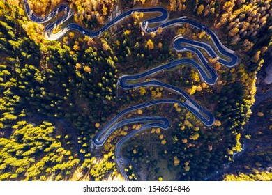 Bregaglia Valley - Engadina - Switzerland - Aerial view of the hairpin bends of the Maloja Pass