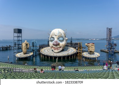 Bregenz/ Austria - 19 September 2020: view of the Open Air Theater in Bregenz with the Verdi's Rigoletto Opera Stage