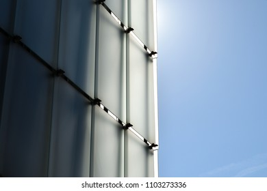 Bregenz, Austria - April 2018. Kunsthaus (KUB): Art Museum in Bregenz designed by Peter Zumthor. The self supporting glass façade reflects the sky and the Lake Constance.