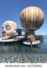 """Bregenz, Austria - June 02, 2019:  Stage Construction for the next Opera """"RIGOLETTO"""" by Giuseppe Verdi,   on the world's largest lake stage in Bregenz on Lake Constance."""