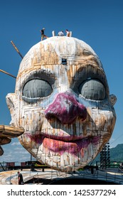 """Bregenz, Austria - June 13, 2019: Stage Construction for the next Opera """"RIGOLETTO"""" by Giuseppe Verdi, on the world's largest lake stage in Bregenz on Lake Constance"""