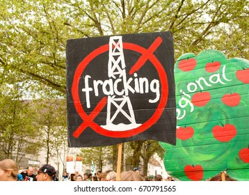 "BREGENZ, AUSTRIA - MAY 20, 2017: A transparent with an illustration: ""Fracking prohibited"" at the demonstration event ""March Against Monsanto"" 2017 in Bregenz, Austria"
