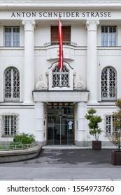 Bregenz, Austria - November 1, 2019: The building of Geldservice Austria GSA Cash Center on Anton Schneider strasse (street) in Bregenz, Austria.