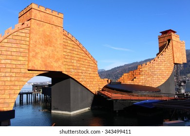 BREGENZ, AUSTRIA - NOVEMBER 24, 2015: Famous floating Stage on the banks of Lake Constance during Arts Festival, held every July and August. The scenery is for the Opera Turandot by Giacomo Puccini.