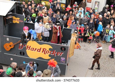 BREGENZ, VORARLBERG, AUSTRIA - FEBRUARY 7, 2016: Annual and traditional carnival parade (Fasching) in front of GWL shopping mall. People dress up with different and funny costumes in this procession.