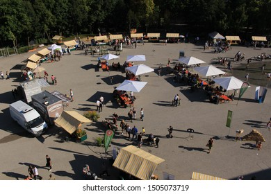 BREGENZ, VORARLBERG, AUSTRIA - SEPTEMBER 15, 2019: Local farmers selling their organic products during the Bio Fest event at the Platz der Wiener Symphoniker square.