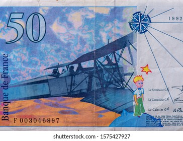 Breguet XIV biplane. portrait from French 50 Francs 1993 banknotes. An Old paper banknotes, vintage retro. Famous ancient Banknotes. French money, France  banknote. Closeup Uncirculated - Collection.