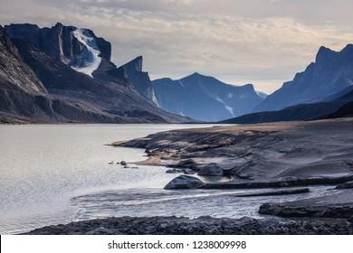 Breidablik Peak and Mount Thor across Summit Lake in Akshayuk Pass, Auyuittuq National Park, Baffin Island, Nunavut
