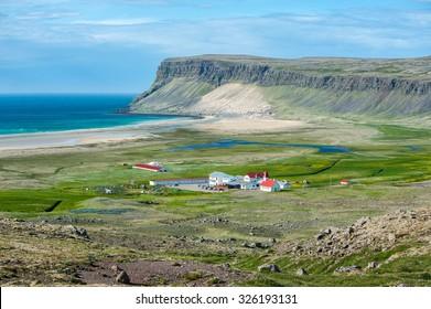 Breidavik village in Patrekfjordur, Westfjords, Iceland