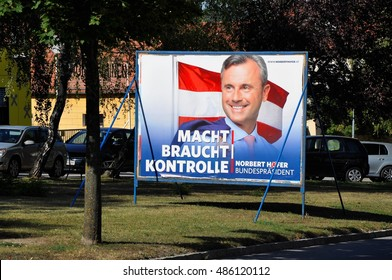 Breitenbrunn, Burgenland, Austria â?? September 1, 2016: Billboard with Norbert Hofer, candidate FPO party in presidential election, which will be repeated ibecause of manipulation with votes.