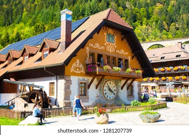 BREITNAU, GERMANY - SEPTEMBER 8, 2018:  View of Black Forest Cuckoo Clock village and shop on a sunny day.