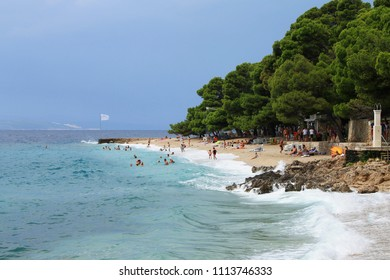 BRELA - CROATIA - AUGUST 18 , 2015 : Windy day on Punta rata beach in Brela , Croatia