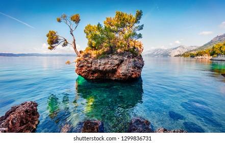 Brela stone is a popular touris destination on the west Croatian coast. Picturesque summer seascape of Adriatic sea, Dalmatian coast, Croatia, Europe. Beautiful world of Mediterranean countries.