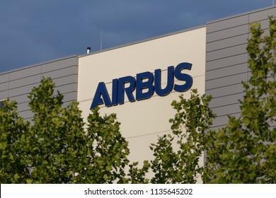 bremen, bremen/germany - 12 07 18: an airbus sign outside an airbus factory in bremen germany