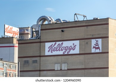 bremen, bremen/germany - 12 07 18: kelloggs factory sign on an building in bremen germany
