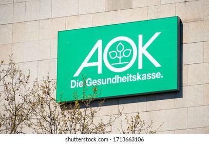BREMEN, GERMANY - April 19, 2020: Logo of big german health insurance AOK
