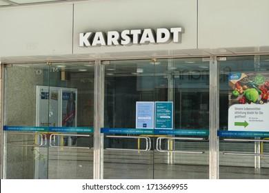 BREMEN, GERMANY - April 19, 2020: Closed door of famous big warehouse company Galeria Karstadt Kaufhof