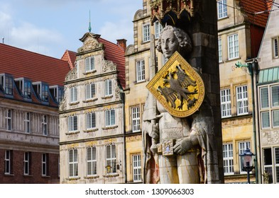 Bremen, Germany - August 22, 2017: Market square with the landmark of the city of Bremen. The Roland statue