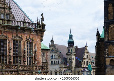 Bremen, Germany - August 22, 2017: Market square with town hall on the left side and soap bubbles