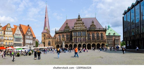 Bremen, Germany - August 22, 2017: Market square with town hall