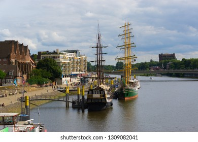 Bremen, Germany - August 22, 2017: Alexander von Humboldt tall ship on the banks of the River Weser in Bremen