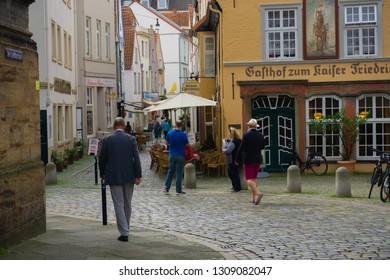 Bremen, Germany - August 22, 2017: The Schnoor quarter in Bremen, famous old town.
