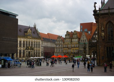 Bremen, Germany - August 22, 2017: The market square with old historic facades and left of Bremen's parliament