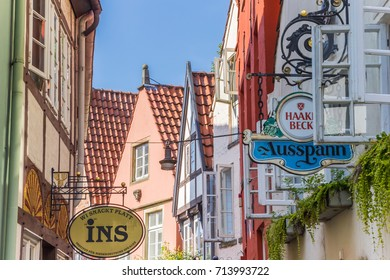BREMEN, GERMANY - AUGUST 23, 2017: Colorful houses in the historic Schnoor district of Bremen, Germany