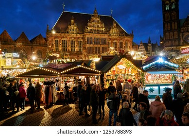Bremen, Germany - December 09, 2018: scenic picture of the traditional christmas market in front of the historic town hall during blue hour at dawn