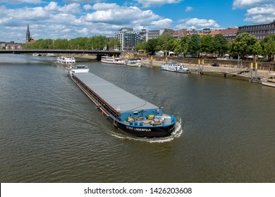 Bremen, Germany - June 13, 2019: A commercial riverboat on the river Weser.