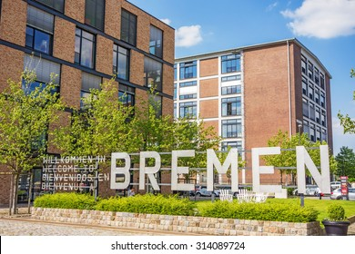 Bremen, Germany - June 6, 2014: Promenade of the Marina Europahafen Bremen, the name of the city written with upper case letters