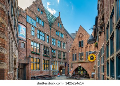 Bremen, Germany - June 6, 2019: The Böttcherstrasse with the carillon in the old town.