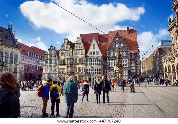 BREMEN, GERMANY - MARCH 23, 2016: Historic facades of houses on the Market Square. In July 2004 the buildings were listed as a UNESCO World Heritage Site.
