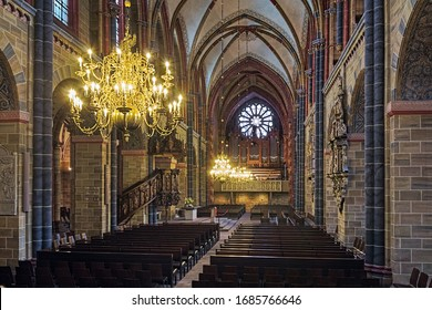 BREMEN, GERMANY - MAY 26, 2015: Interior of Bremen Cathedral. The cathedral of St Peter was built in the 11th century and rebuilt in the later centuries. Main organ was built in 1894 by Wilhelm Sauer.