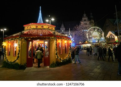 Bremen, Germany - November 30, 2018: beautiful hexagon pavillion with christmas lights and decoration at the christmas market that can be seen in background