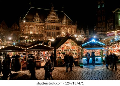 Bremen, Germany - November 30, 2018: traditional Christmas market in front of the historic town hall at night