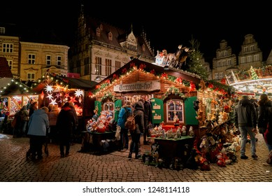 Bremen, Germany - November 30, 2018: scenic huts at christmas market at night