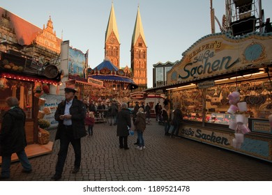 "Bremen, Germany - October 19, 2016: little fair in front of the town hall and St. Petri Cathedral at ""Freimarkt"" time"