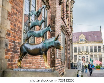 "BREMEN, GERMANY - SEPTEMBER 10, 2013: Statue of the ""Town Musicians of Bremen"" in Bremen, Germany. Bremen is a Hanseatic city in northwestern Germany."