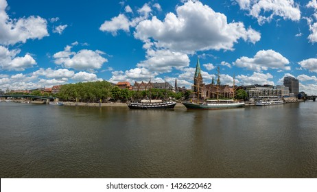 Bremen, Germany. View of the river Weser with historic ships and promenade.