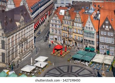 The Bremen Market Square (German: Bremer Marktplatz), Germany. Aerial view.