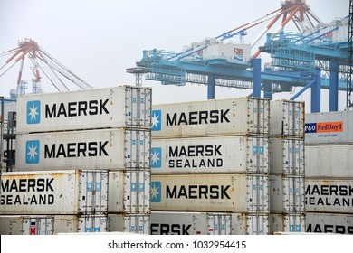 Bremerhaven, Bremen / Germany - April 5, 2014:  Maersk Containers in a shipping terminal in Bremerhaven, Germany. Maersk is the largest container shipping company in the world