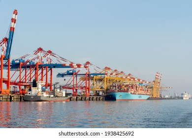 Bremerhaven, Geramny - September 15, 2020: Two Maersk container ships at the EUROGATE Container Terminal
