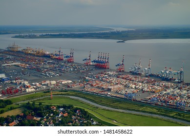 Bremerhaven, Germany - August 16, 2019: aerial view of the harbour with large container terminal