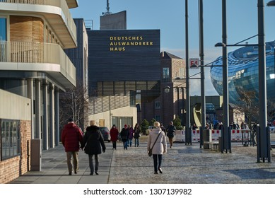 """Bremerhaven, Germany - February 03, 2019: exterior of the museum """"Deutsches Auswandererhaus"""" (German Emigration Center) on a sunny day"""