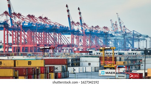 Bremerhaven, Germany, January 16., 2020: Containers and container cranes in the container port