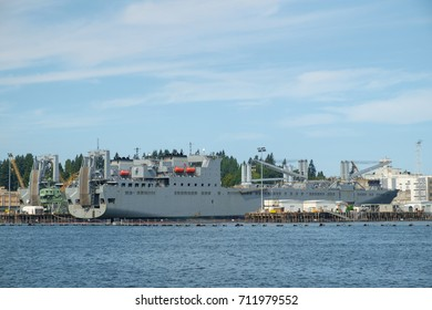 Bremerton, WA, USA Sept 04, 2017: USNS Fisher, a Bob Hope class vehicle cargo ship in drydock for repairs and maintenance at Puget Sound Naval Shipyard in Bremerton, Washington