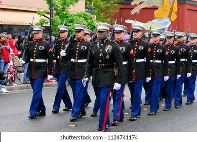 Bremerton, Washington / USA - May 21, 2011: U.S. Marines from Naval Base Kitsap marching in the Armed Forces Day parade in Bremerton, Washington, on May 21, 2011.