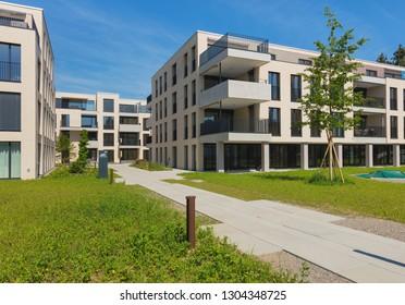 Bremgarten, Switzerland - June 16, 2018: new residential buildings along Augraben street in Bremgarten. Bremgarten is a municipality in the Swiss canton of Aargau.