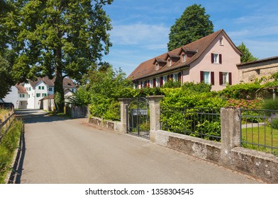 Bremgarten, Switzerland - June 16, 2018: a street in the historic part of the town of Bremgarten. Bremgarten is a municipality in the Swiss canton of Aargau, known for its medieval old town.